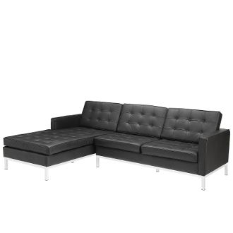 Prime Florence Knoll Style Right Arm Leather Sectional Sofa Black 90 Gmtry Best Dining Table And Chair Ideas Images Gmtryco