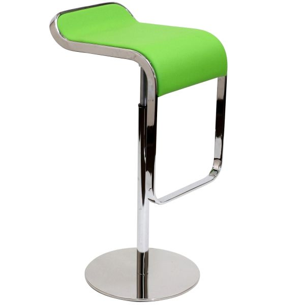 Joe Colombo Armless Lem Style Italian Leather Bar Stool - Green
