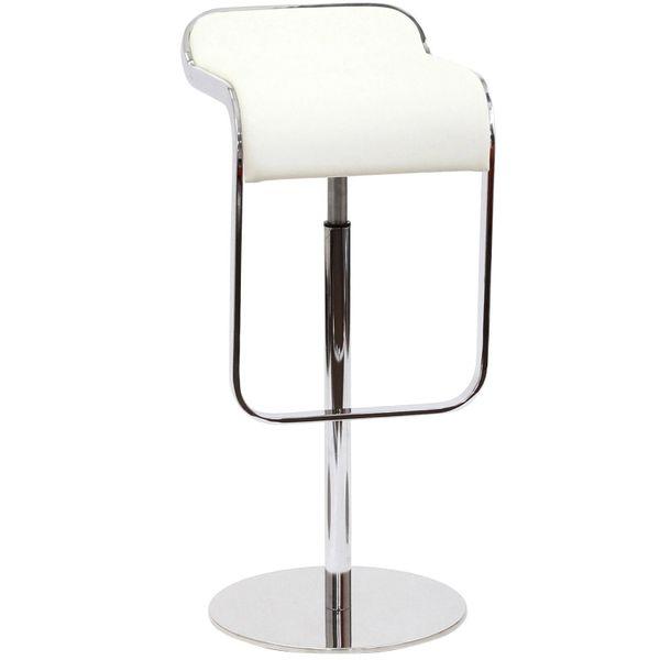 Joe Colombo Armless Lem Style Italian Leather Bar Stool - White