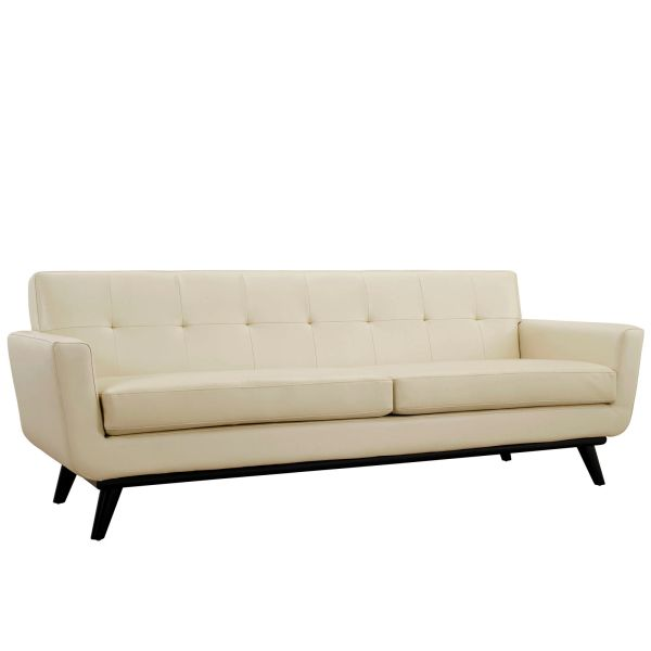 """Finn Juhl Style Leather Sofa-Beige-90"""""""