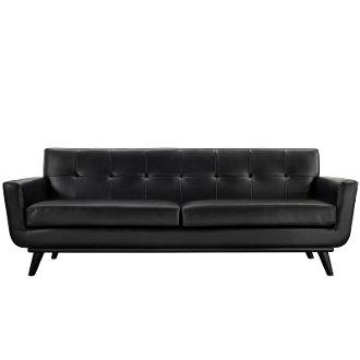 "Finn Juhl Style Leather Sofa-Black-90"""