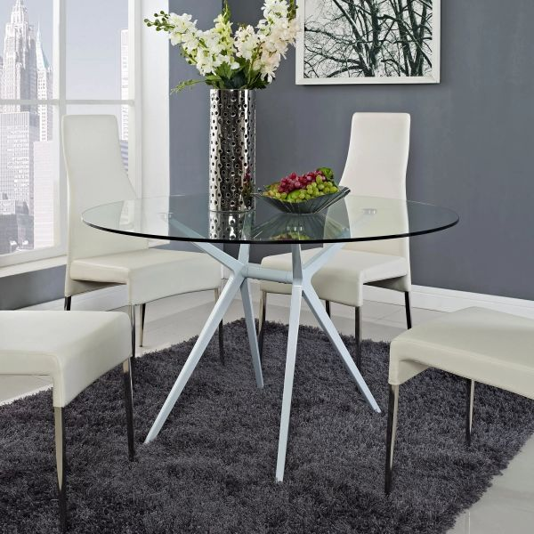 Harris 47 Round Glass Dining Table Take 1 Designs Mid Century Modern Furniture