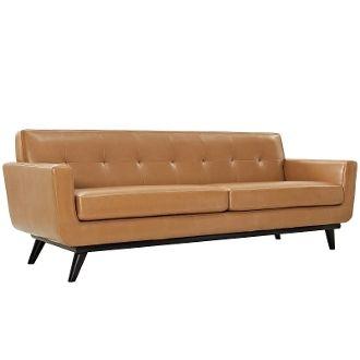 "Finn Juhl Style Leather Sofa-Tan-90"""