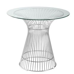 """Jan Round Wire and Glass Dining Table 36"""""""