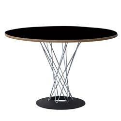 """Jan Round Wire and Wood Dining Table 42"""" Black"""