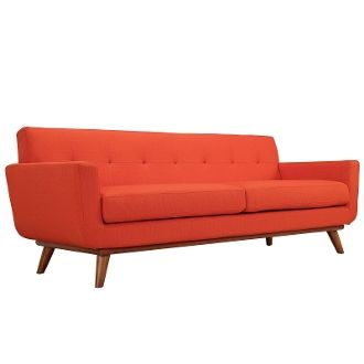 "Finn Juhl Style Sofa-Atomic Red-90"""