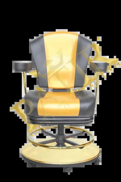 MFP Chair w/wheels & armrests – black/gold/black