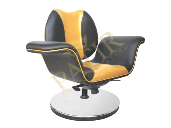 Leather and steel Swivel Chair w/ armrest-black-gold-black