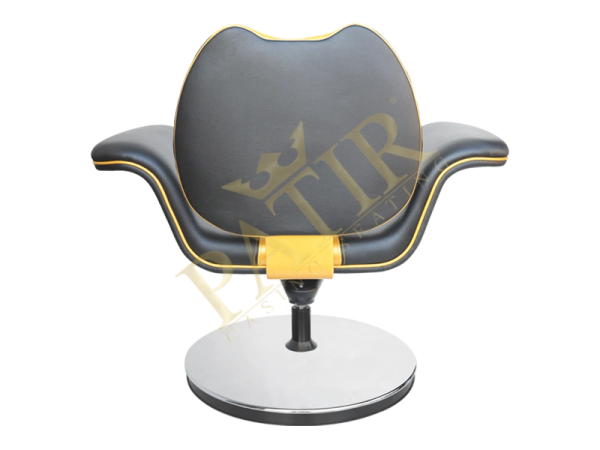 Leather and steel Swivel Chair with armrest – black-gold