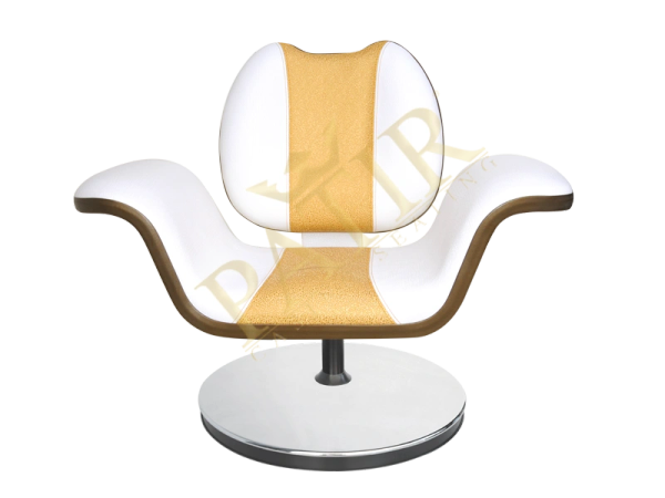 Leather and steel Swivel Chair with armrest-white-ottoman-white