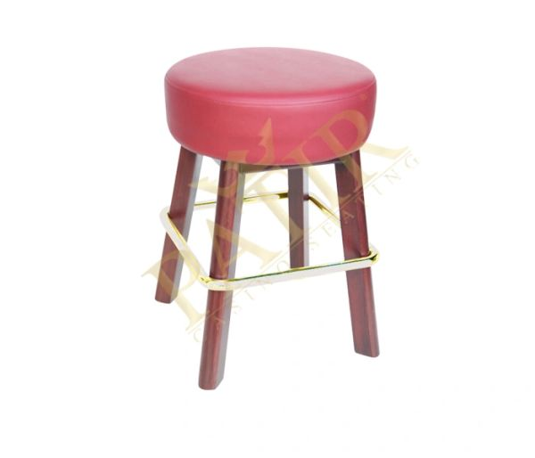 Footrest - Leather Brass plated wooden legs-red