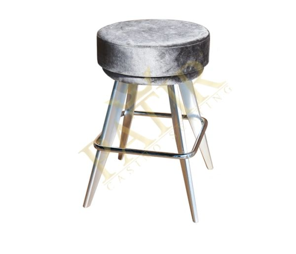 Footrest - Leather chrome aluminum leg-chrome