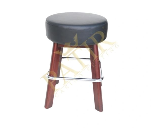 Footrest - Leather chrome plate, wooden legs