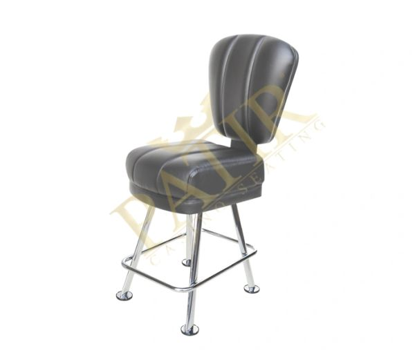 Leather & Chrome Chair - Black