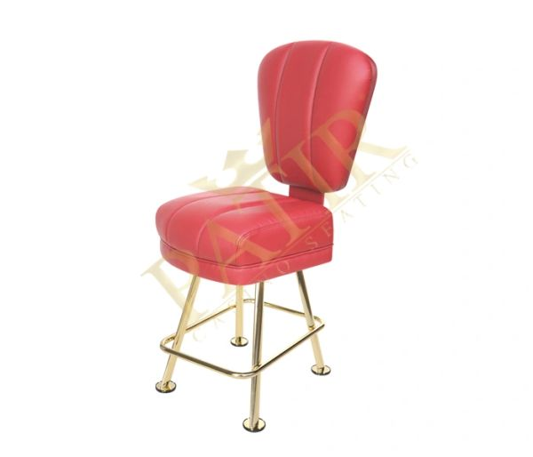 Leather & Brass Plated Chair - Red
