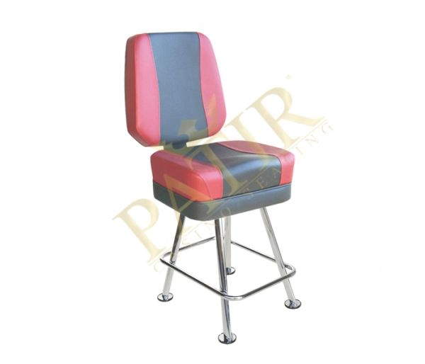 Leather & Chrome Chair - red & gray