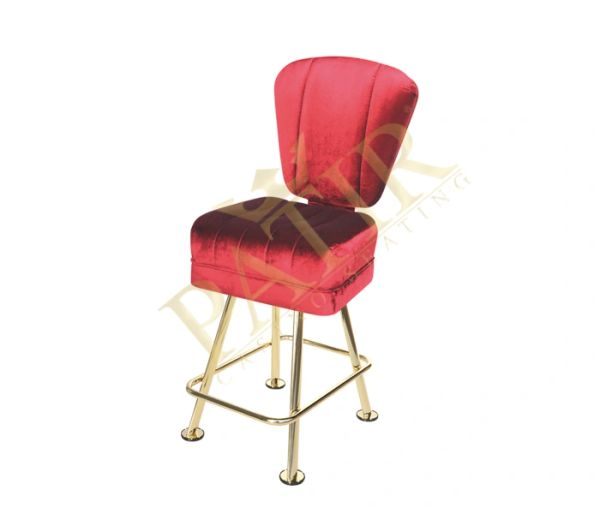 Leather & brass plated chair - dark red