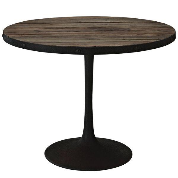 "Miller Round Dining Table Wood Top Metal Base - Brown - 40"""