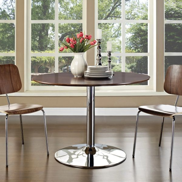 """Miller Round Dining Table Wood Top Steel Base-Brown - 43"""""""