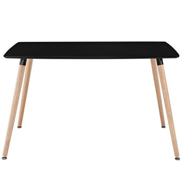 "Olson Rectangular Dining Table - Black Top - Beech Legs - 47"""