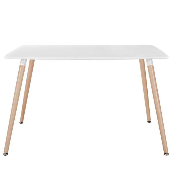 Olson Rectangular Dining Table White Top Beech Legs 47 Mid Century Modern Furniture