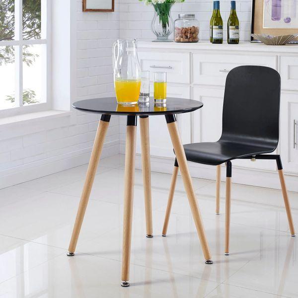 "Olson Round Dining Table - Black Top-Beech Legs - 24"""