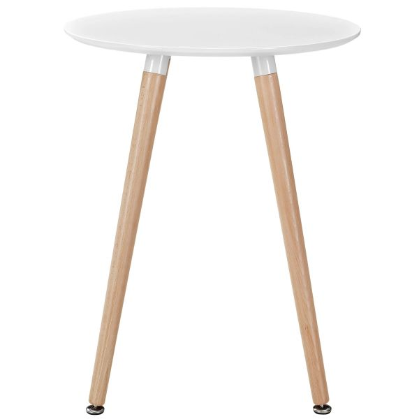 """Olson Round Dining Table-White Top - Beech Legs - 24"""""""