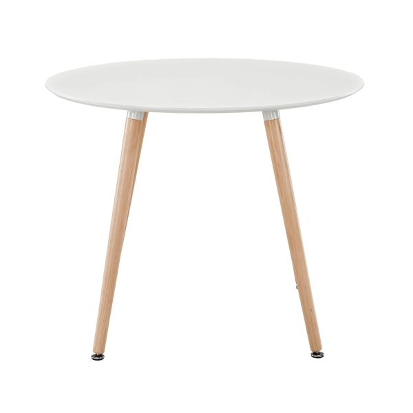 """Olson Round Dining Table - White Top-Beech Legs - 36"""""""