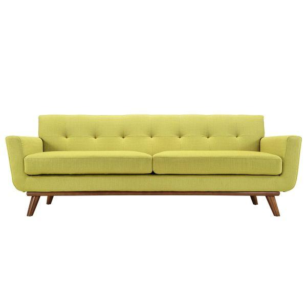 "Finn Juhl Style Sofa-Wheat Grass-90"""