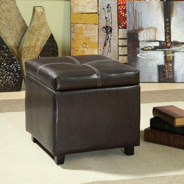 Cindy Vinly Storage Cube Ottoman - Black