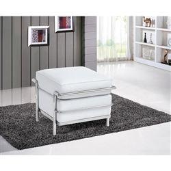 Le Corbusier Style Leather Ottoman B - White