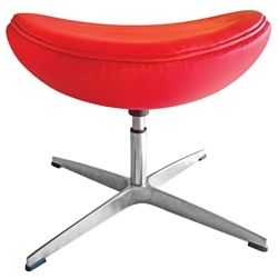 Arne Jacobsen Style Leather Ottoman - Red
