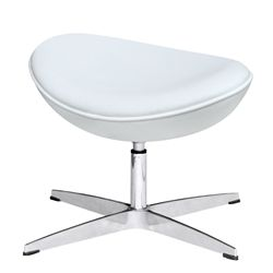 Arne Jacobsen Style Leather Ottoman - White