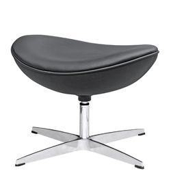 Arne Jacobsen Style Leather Ottoman B - Black