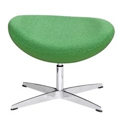 Arne Jacobsen Style Wool Ottoman - Green