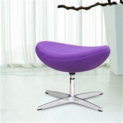 Arne Jacobsen Style Wool Ottoman - Purple