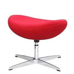 Arne Jacobsen Style Wool Ottoman - Red
