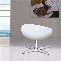 Arne Jacobsen Style Wool Ottoman - White