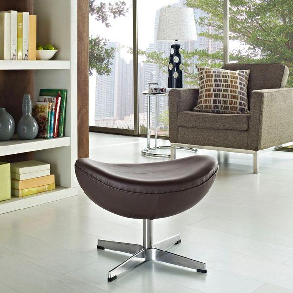 Arne Jacobsen Style Leather Ottoman B - Brown