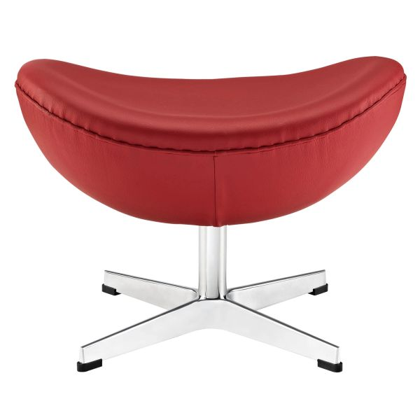 Arne Jacobsen Style Leather Ottoman B - Red