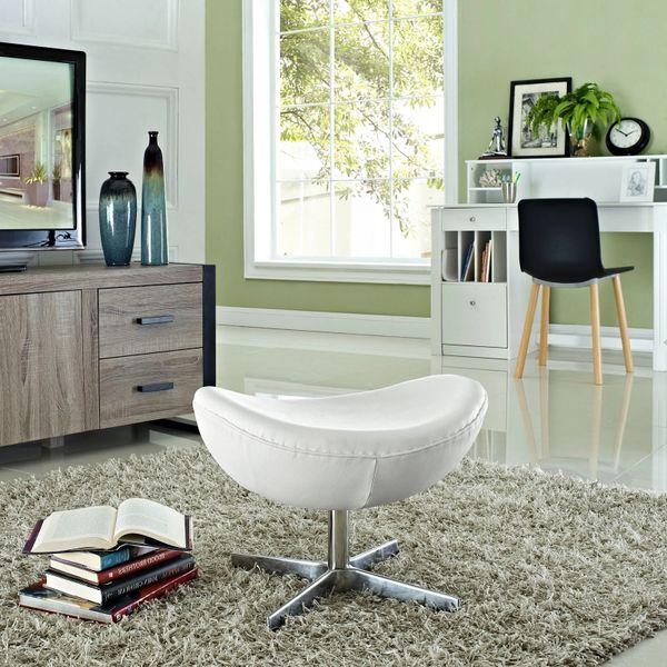 Arne Jacobsen Style Leather Ottoman B - White