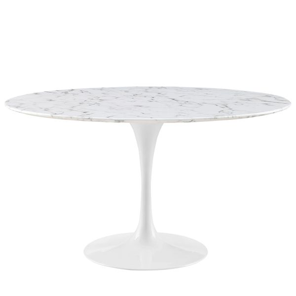 """Saarinen Style Tulip Round Marble Dining Table 60"""""""