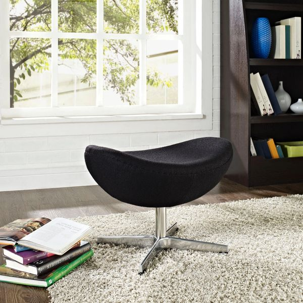 Arne Jacobsen Style Wool Ottoman B - Black