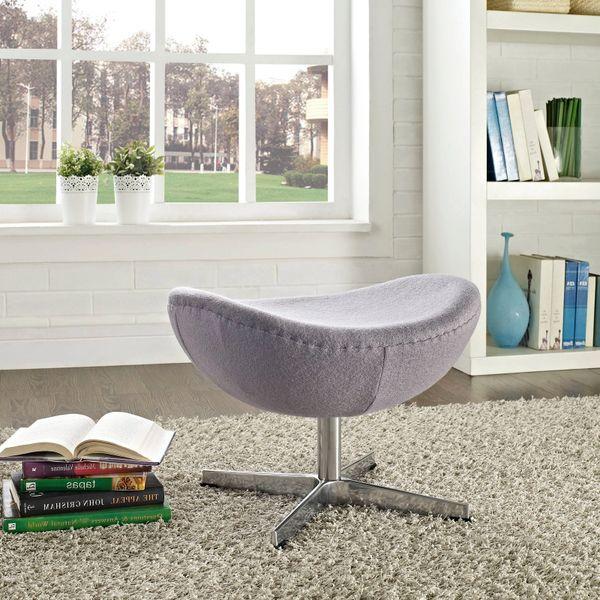 Arne Jacobsen Style Wool Ottoman B - Dark Gray