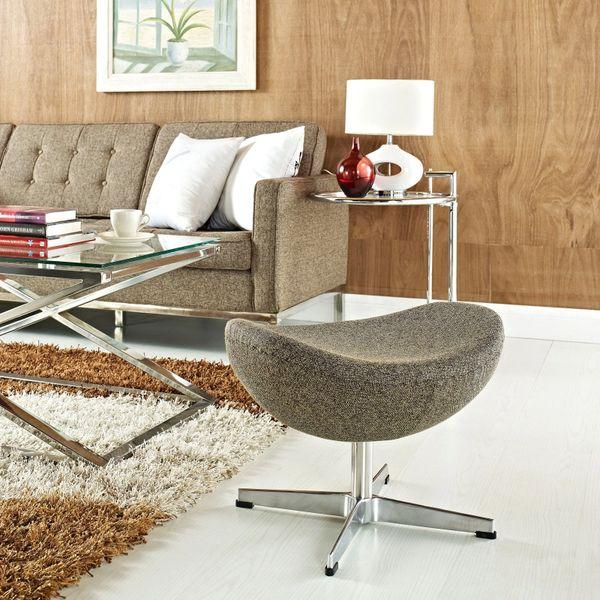 Arne Jacobsen Style Wool Ottoman B - Oatmeal