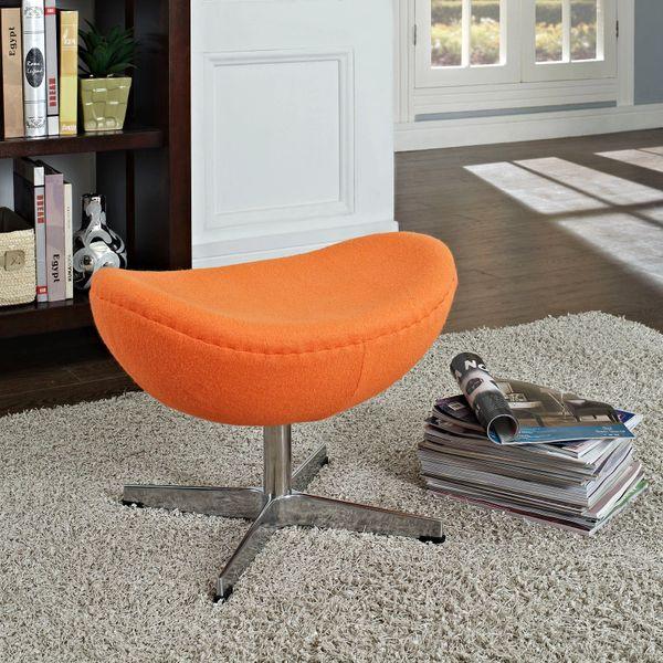 Arne Jacobsen Style Wool Ottoman B - Orange