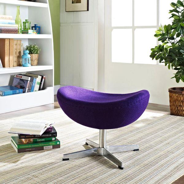 Arne Jacobsen Style Wool Ottoman B - Purple