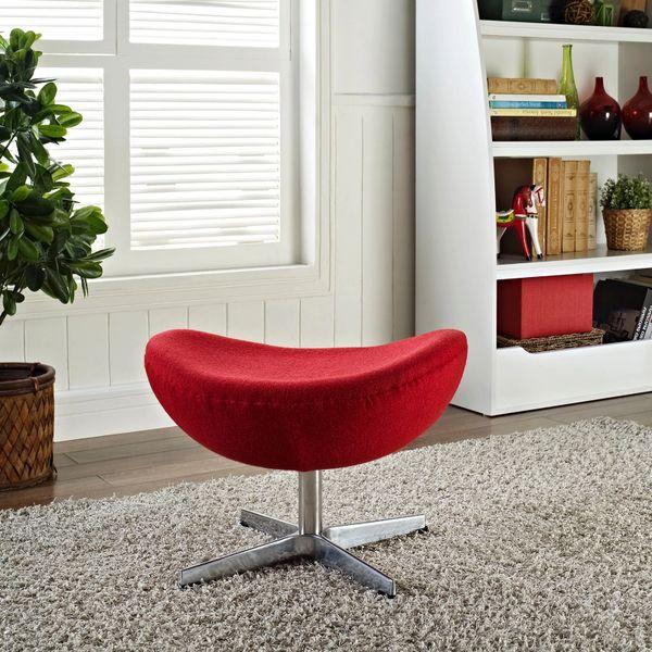 Arne Jacobsen Style Wool Ottoman B - Red