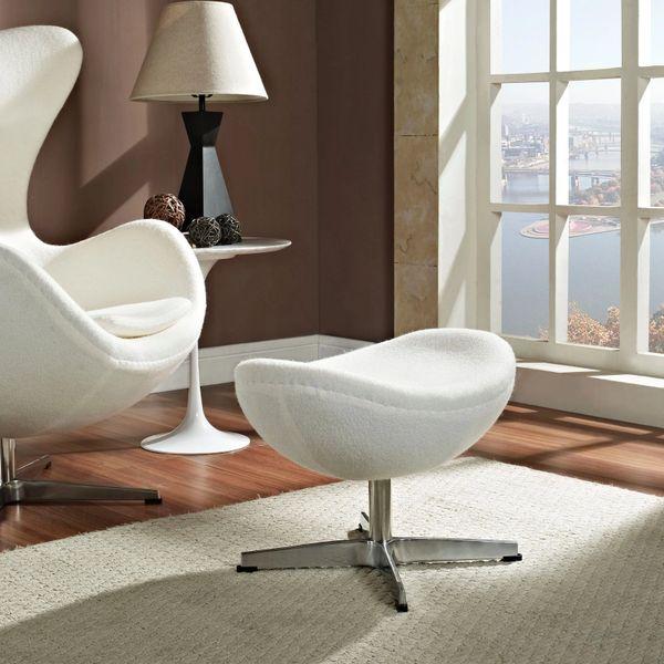 Arne Jacobsen Style Wool Ottoman B - White