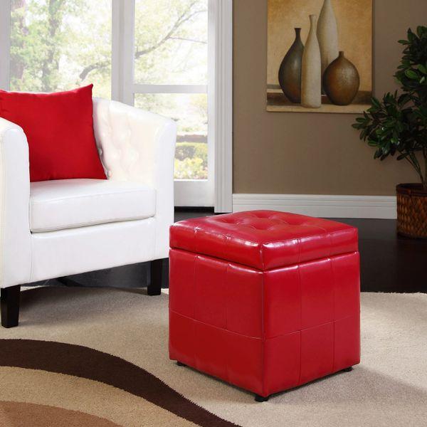Cindy Storage Ottoman - Red